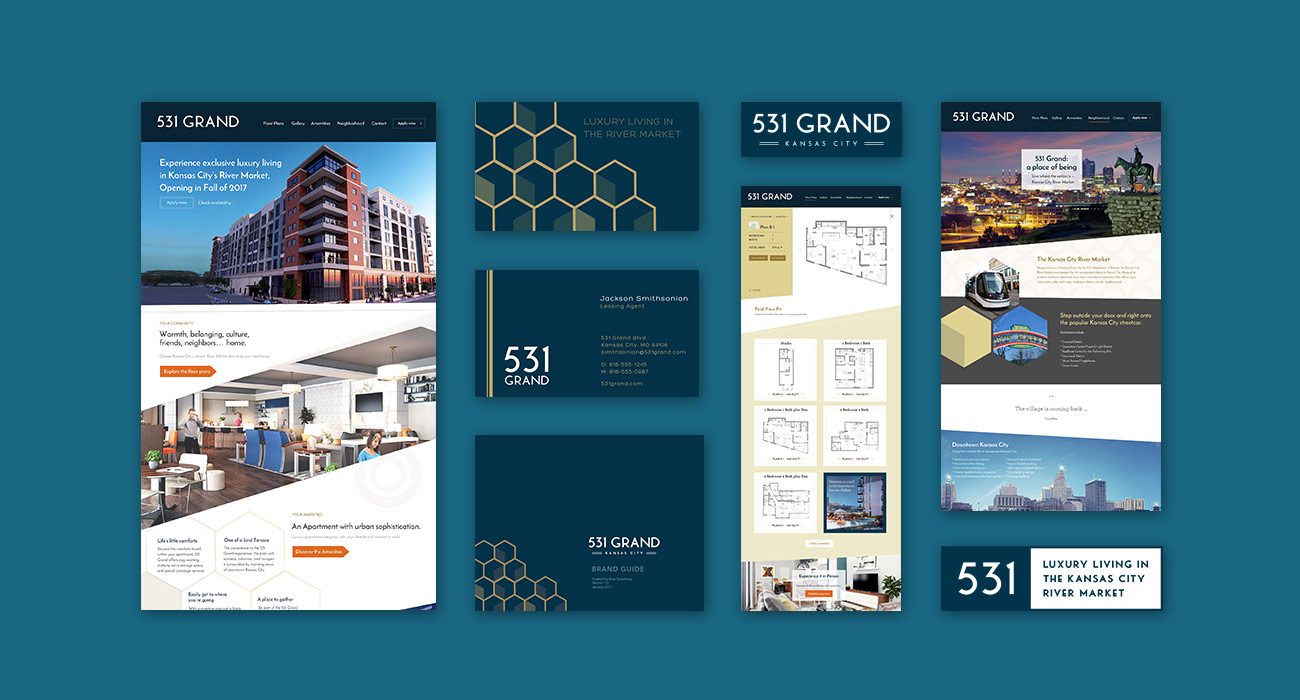 Collage of website, logo, branding document, and business cards ZIV created for 531 Grand