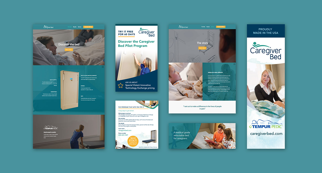 Web design and print collateral done by ZIV for Caregiver Bed