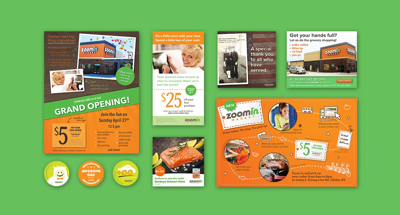 Posters, mailers, stickers, and ads done for Zoomin Market by ZIV