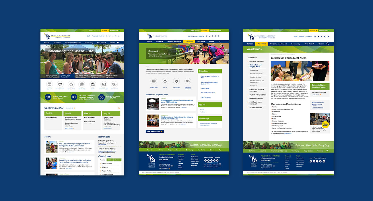 Web development and design for PSD Schools by ZIV