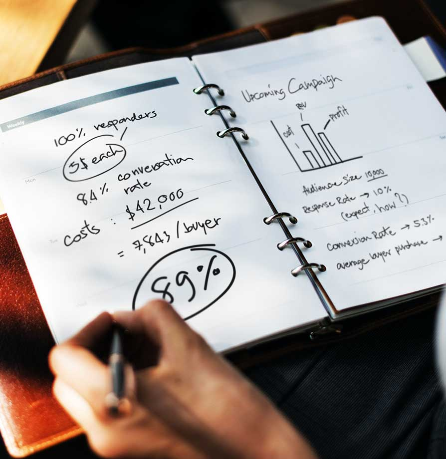 notebook with success metrics calculations