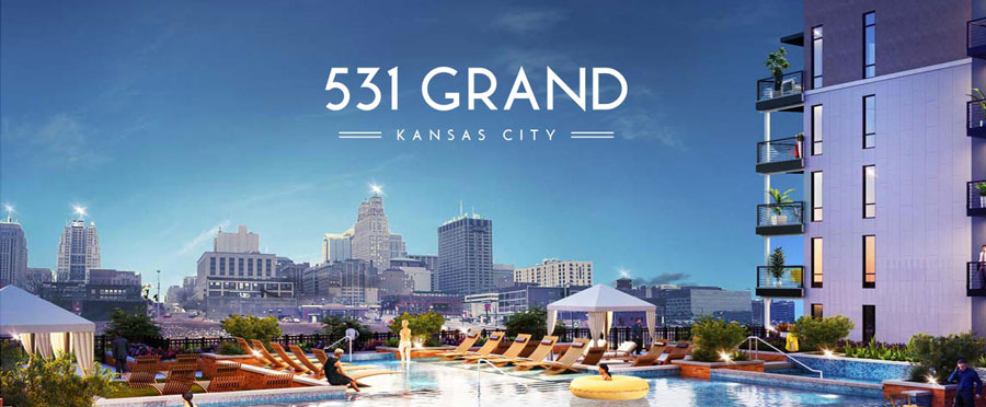 Image of 531 Grand's pool area and their logo designed by ZIV