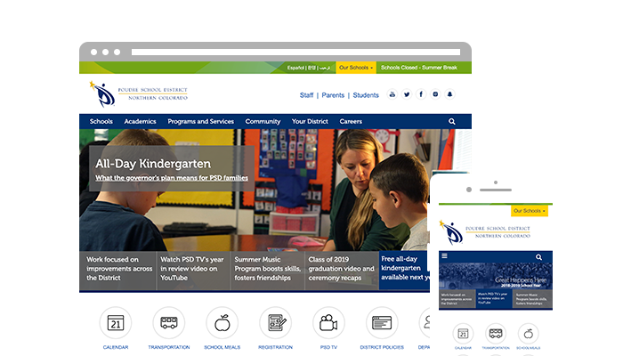 The homepage of the Poudre School District website on desktop and mobile