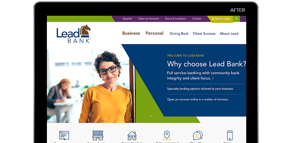 """Computer screen showing """"after"""" version of Lead Bank's website"""