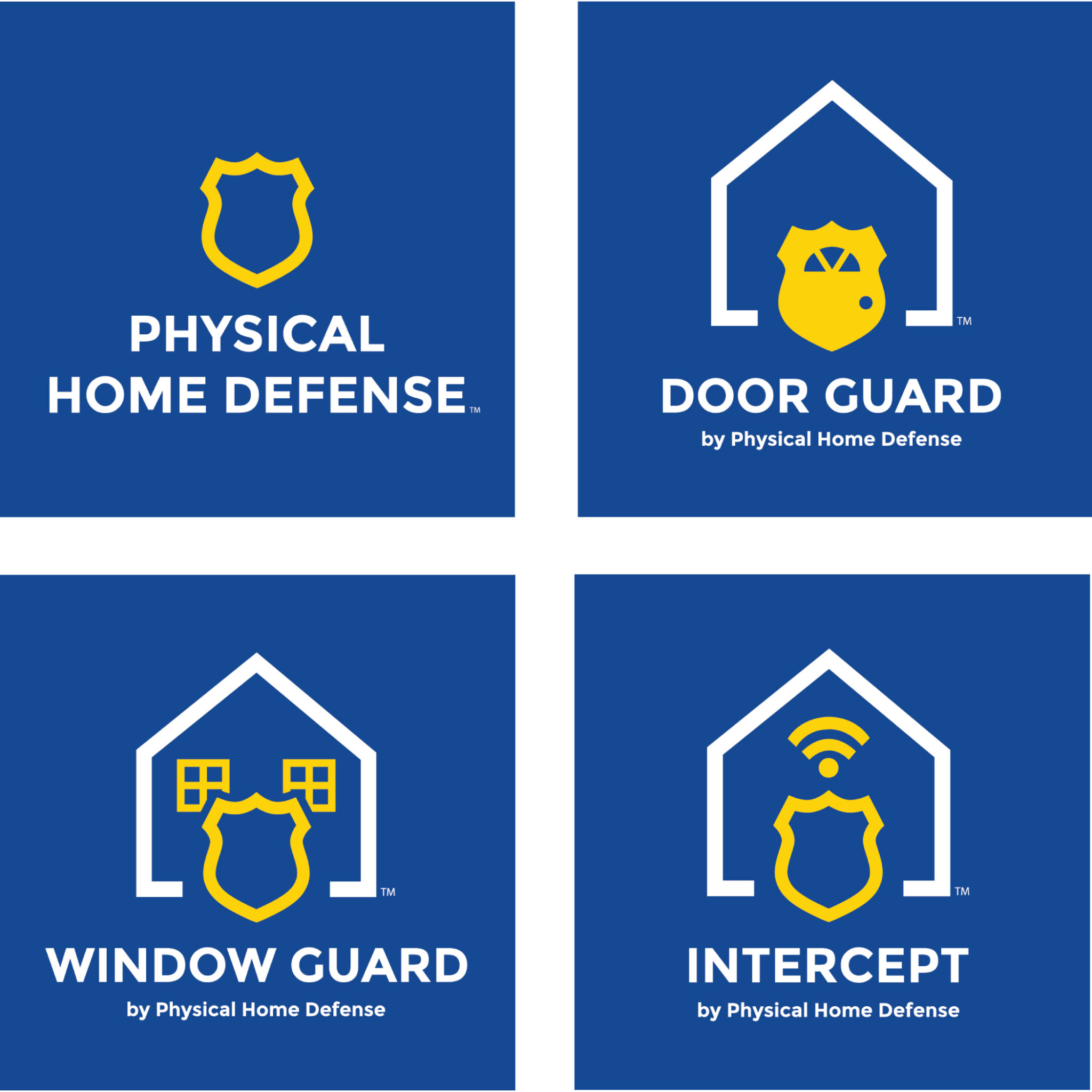 4 variations on Physical Home Defense logos