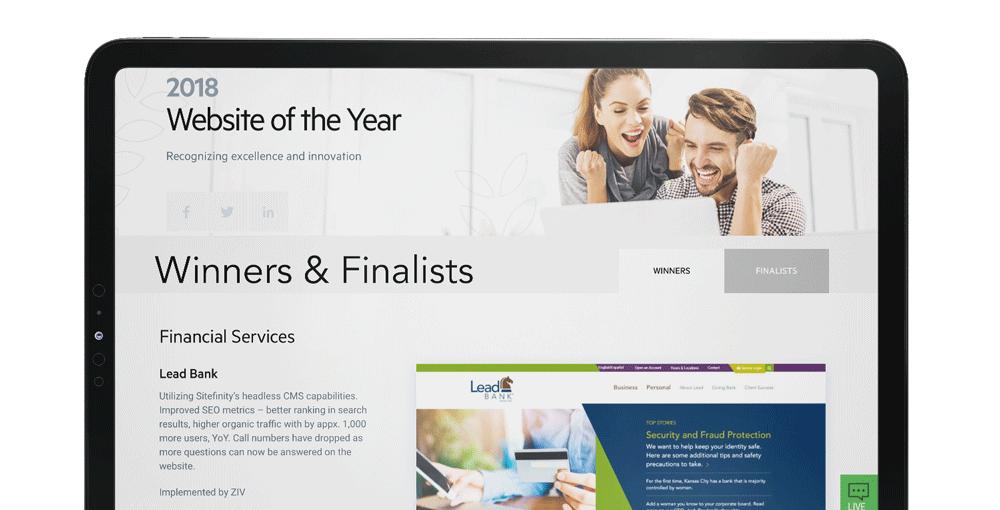 iPad showcasing the website of the year award