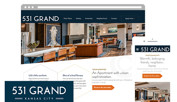 The mobile and desktop versions of the 531 Grand Kansas City apartment website