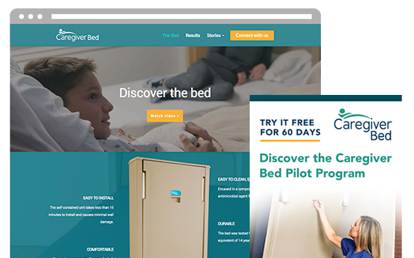 Caregiver bed wordpress web design and brochures by ZIV