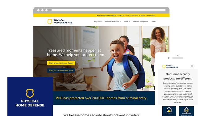 Desktop and mobile versions of the website for the PHD Physical Home Defense logo and web design by ZIV