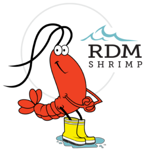 The RDM Shrimp logo of a shrimp in rain boots