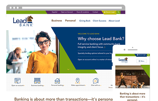 Lead Bank community bank in kansas city desktop and mobile website design by ZIV