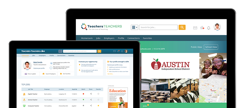 Two computers showing the Teachers Teachers website and dashboard