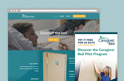 Caregiver Bed posters, website, and marketing by ZIV in kansas city