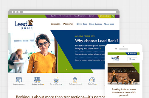 Lead Bank community bank in kansas city desktop and mobile web design by ZIV