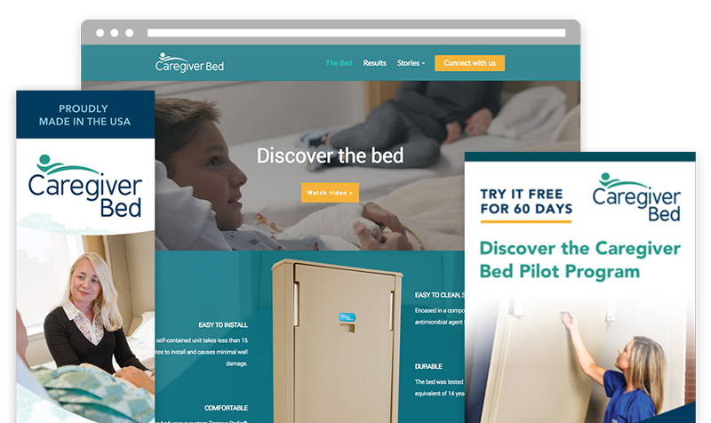Marketing and trade show design materials for Caregiver Bed in Kansas by ZIV
