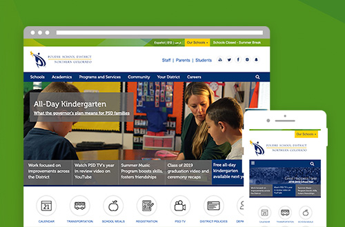 Poudre School District in Colorado user experience and web design by ZIV
