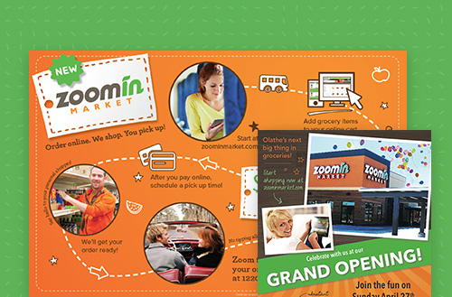 Zoomin Collage of marketing work done by ZIV including social media marketing posts and direct mail marketing